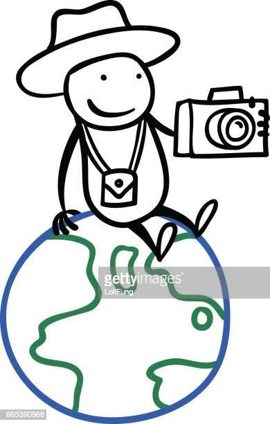 cartoon man travel around the world - camera stand stock illustrations, clip art, cartoons, & icons