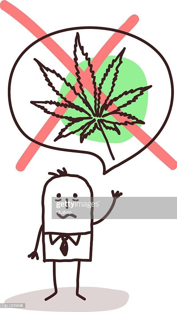cartoon man who wants to stop smoking cannabis
