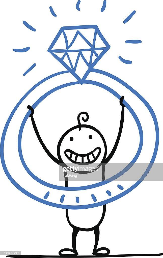 Cartoon man with a big diamond ring