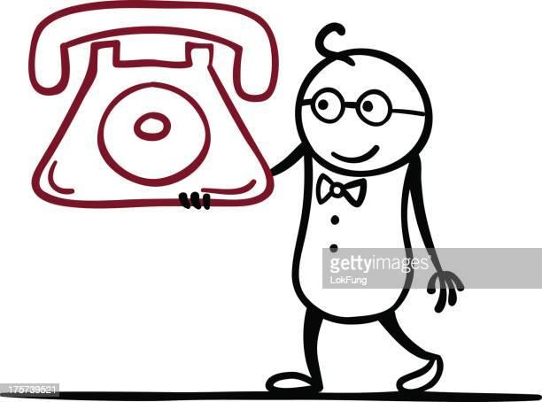 Cartoon man with a classic telephone