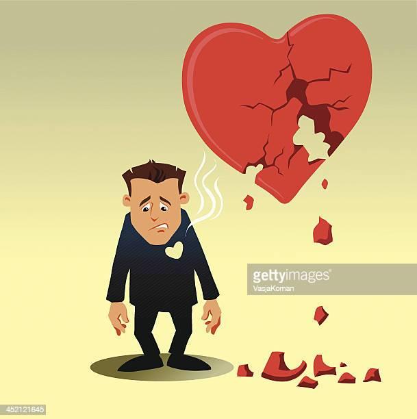 Cartoon Man With Broken Heart