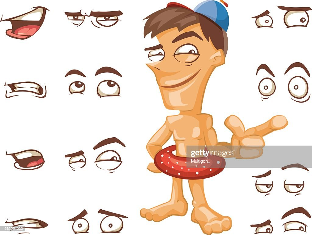 Cartoon man with different expressions
