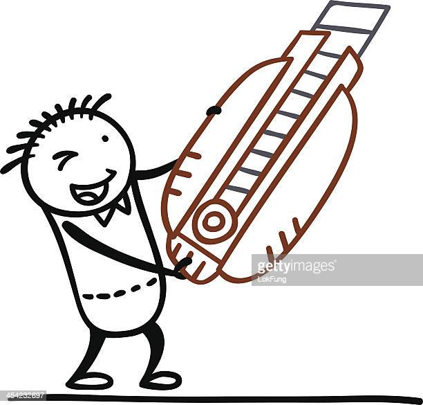 Cartoon man with his box cutter