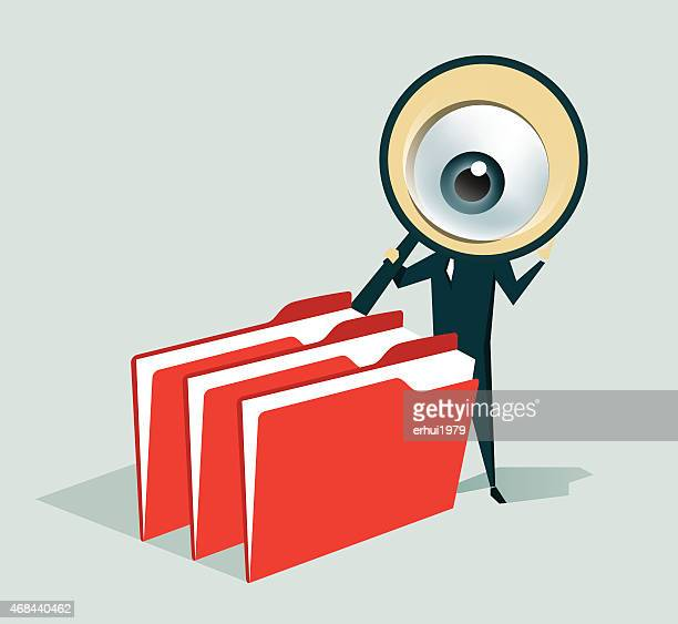 cartoon man with magnifying glass looking through folders - inspector stock illustrations, clip art, cartoons, & icons