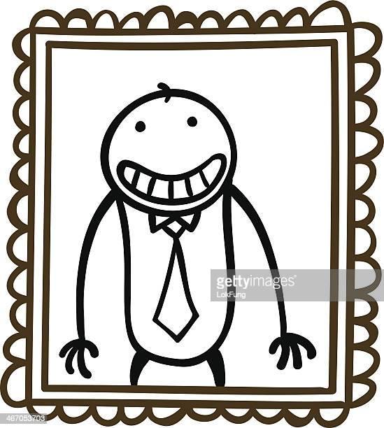 Cartoon man's self portrait