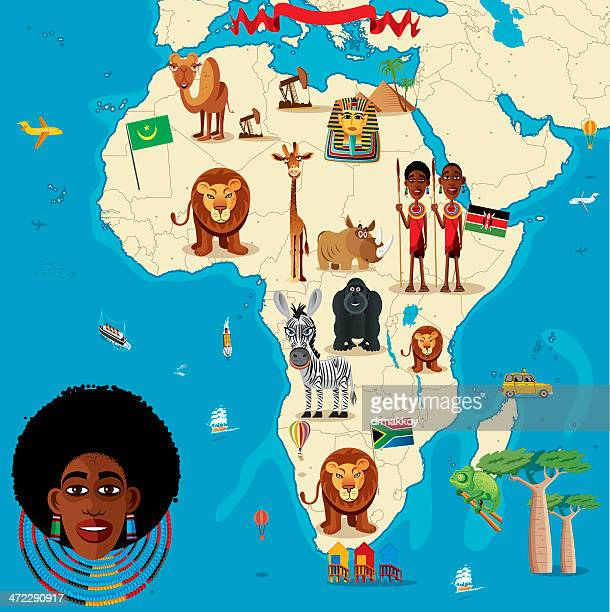 cartoon map of africa - west africa stock illustrations, clip art, cartoons, & icons