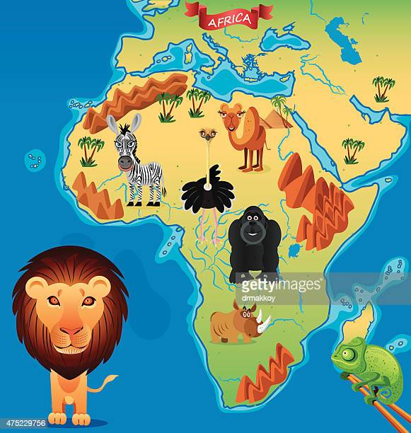 cartoon map of africa - nile river stock illustrations, clip art, cartoons, & icons