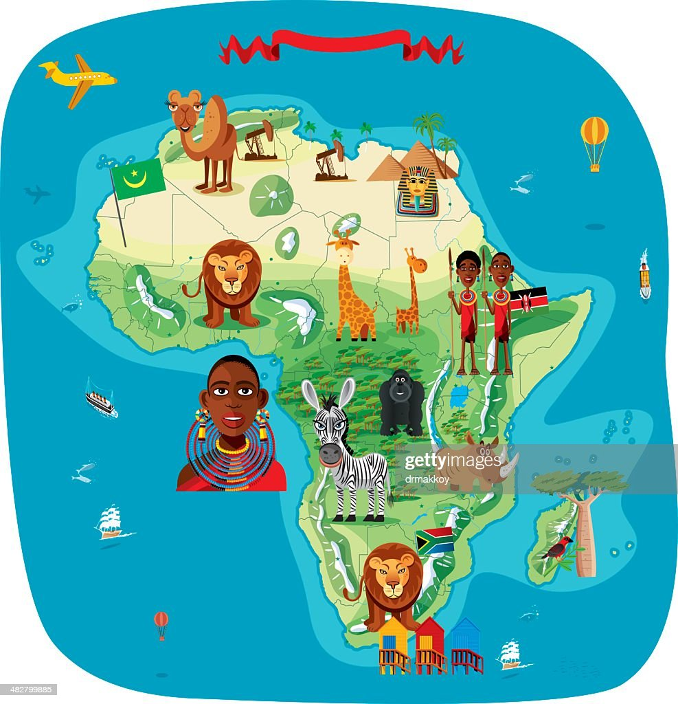 Cartoon Map Of Africa Vector Art Getty Images