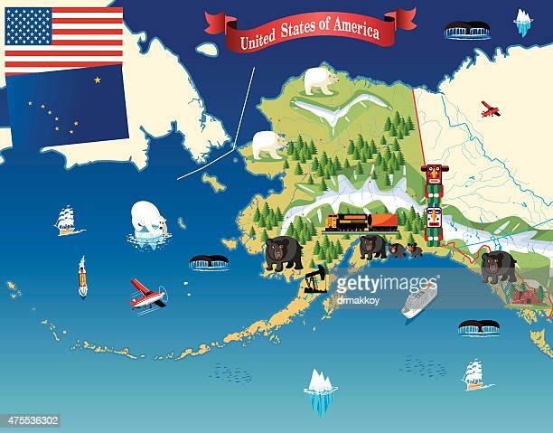 カットイラスト、マップのアラスカ - アラスカ点のイラスト素材/クリップアート素材/マンガ素材/アイコン素材