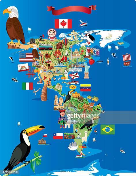 Cartoon map of America