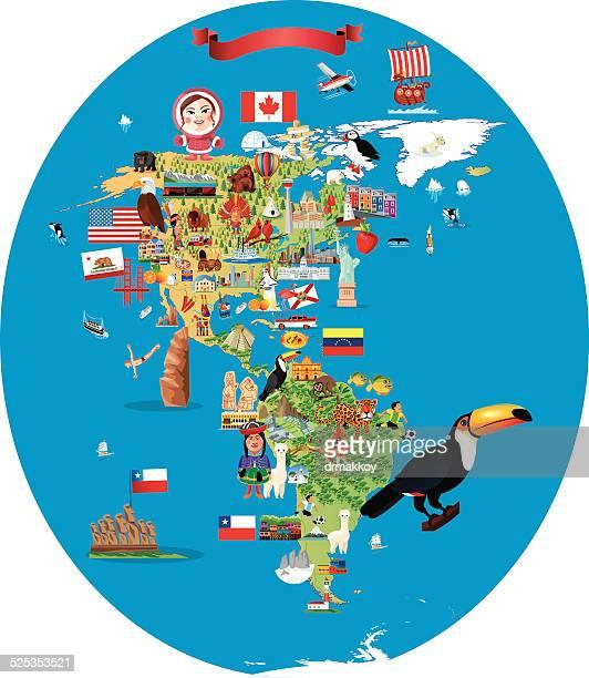 cartoon map of america - easter island stock illustrations, clip art, cartoons, & icons