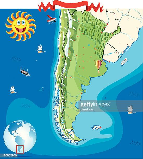Cartoon map of Argentina