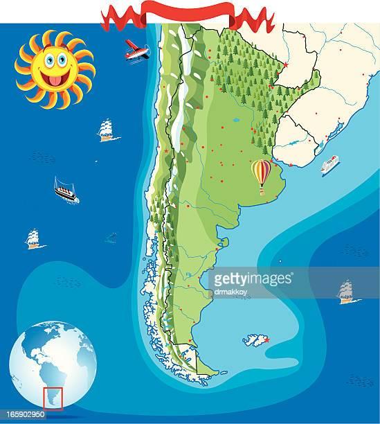 Cartoon Karte von Argentinien