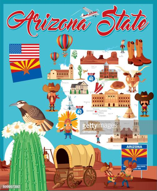 cartoon map of arizona state - tempo stock illustrations