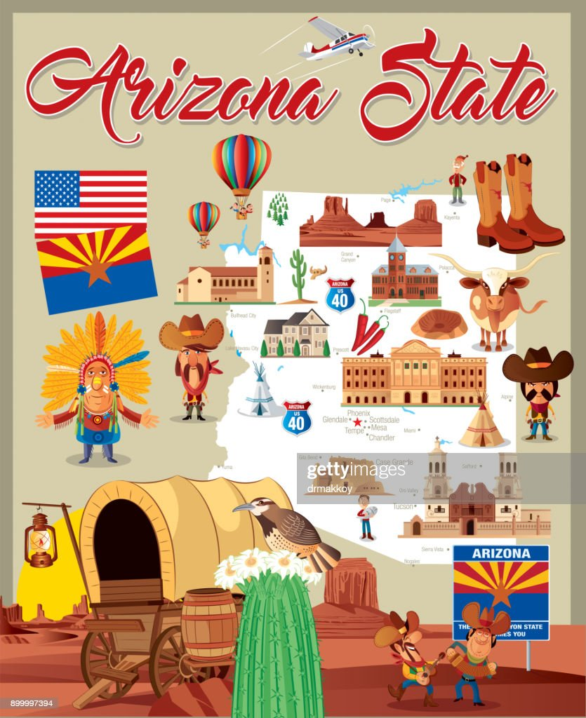Cartoon map of Arizona State