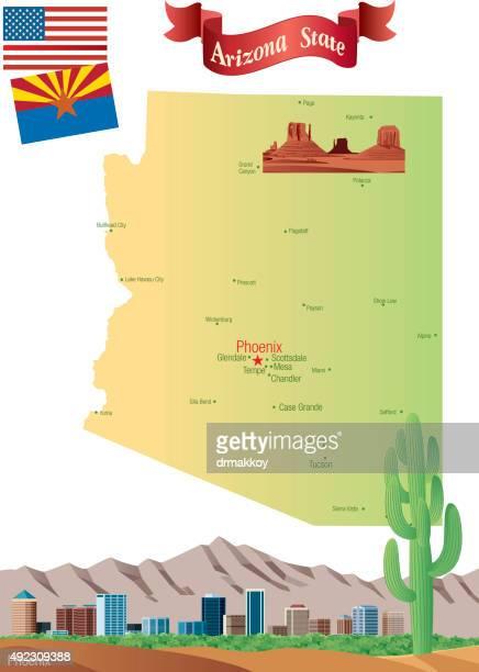 cartoon map of arizona - glendale arizona stock illustrations