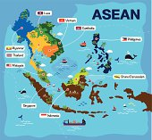 Cartoon map of asean