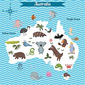 Cartoon map of Australia continent with different animals.