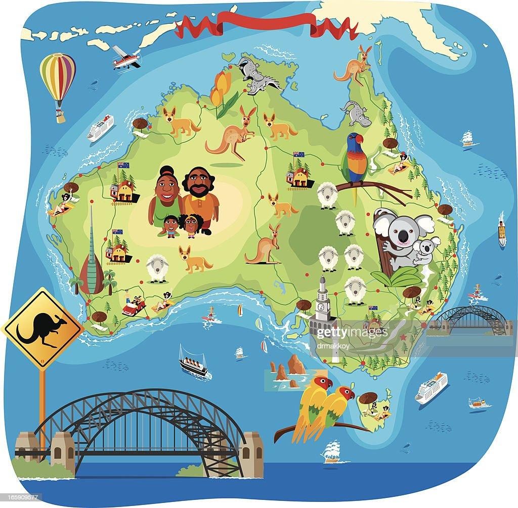 Cartoon map of Australia : Stock Illustration