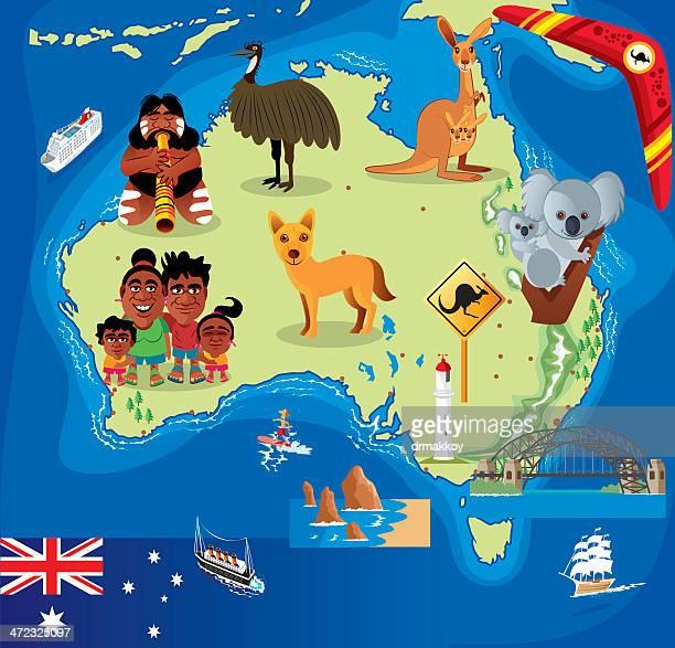 Cartoon Karte von Australien