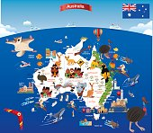 Cartoon map of Australia