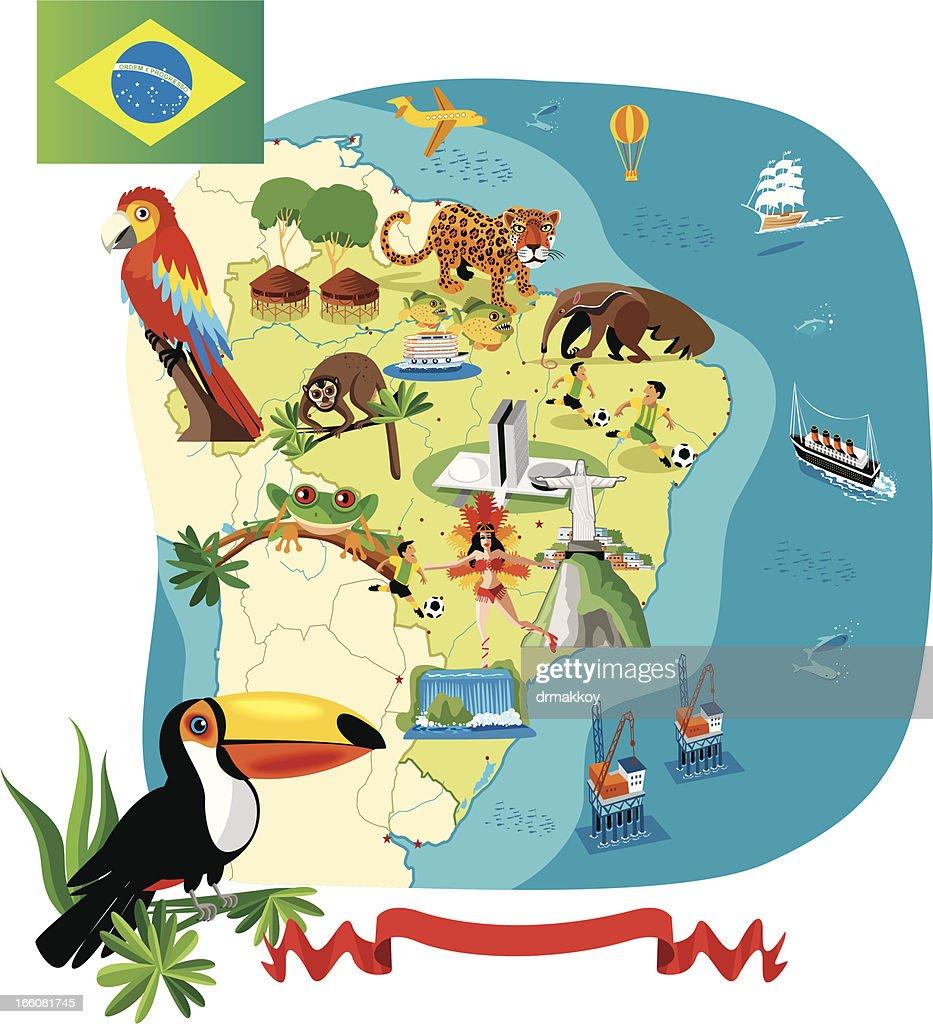 Mulher Mapa do Brasil : Ilustração de stock