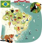 Cartoon map of Brazil