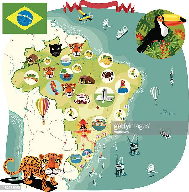 cartoon map of brazil - samba stock illustrations