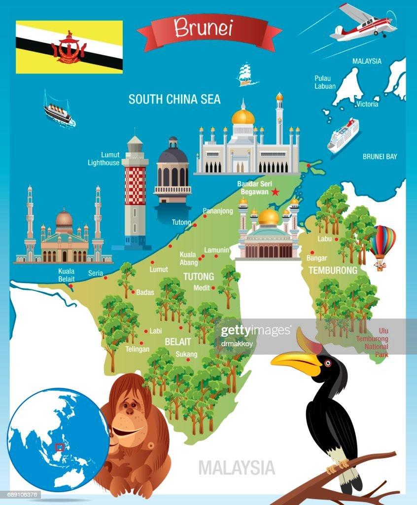 Cartoon map of Brunei : Stock Illustration