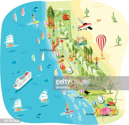 Cartoon Map Of California Vector Art Getty Images