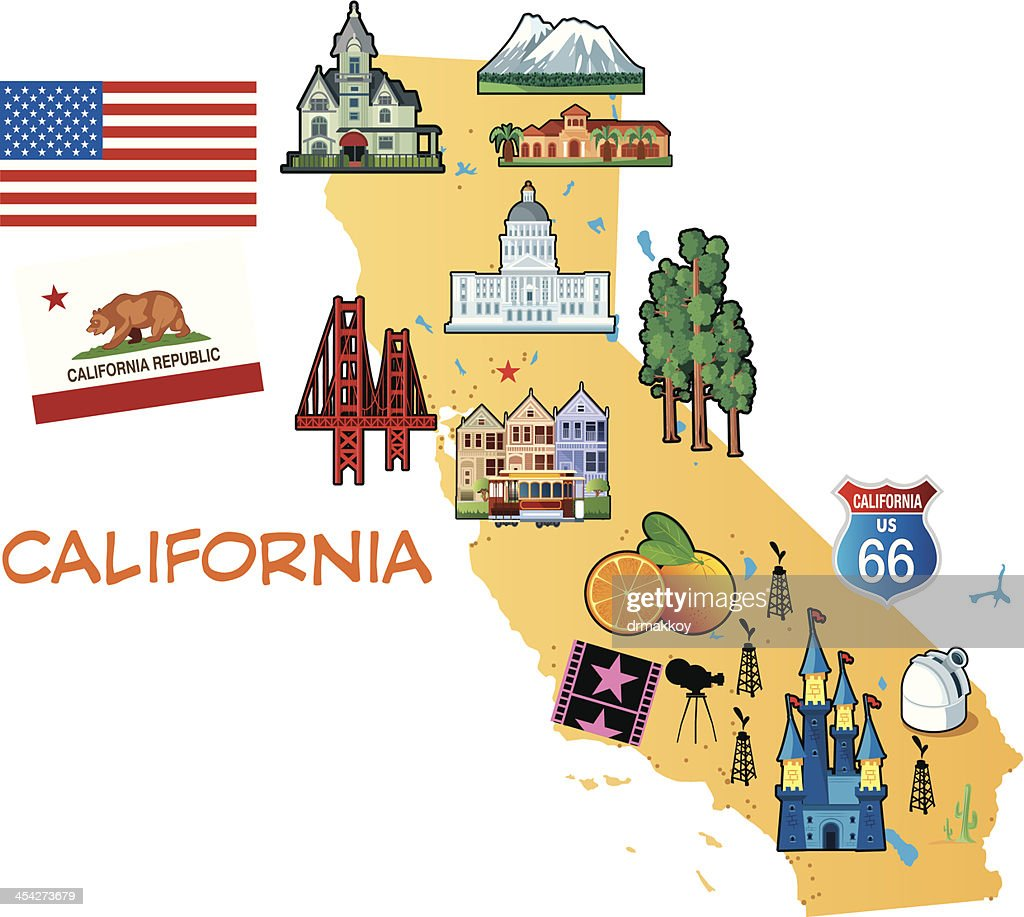 Cartoon Map Of California Vector Art Getty Images - Califonia map