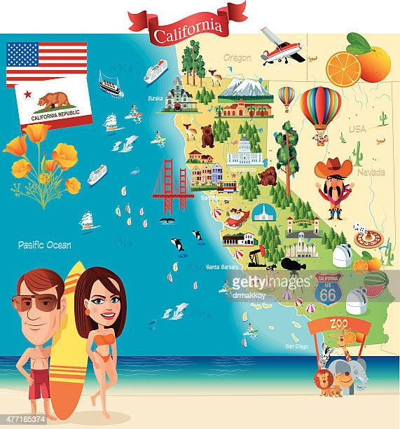 bildbanksillustrationer, clip art samt tecknat material och ikoner med cartoon map of california - hollywood kalifornien
