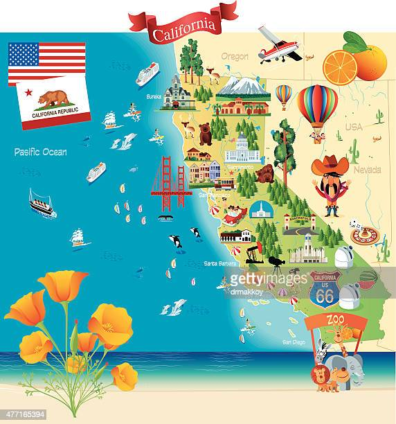 cartoon map of california - hollywood california stock illustrations