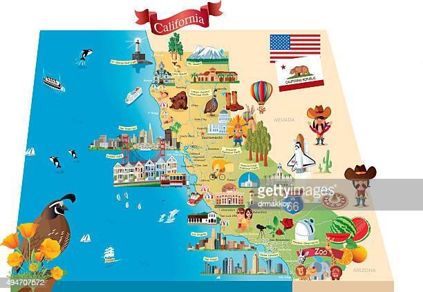 cartoon map of california - long beach california stock illustrations, clip art, cartoons, & icons
