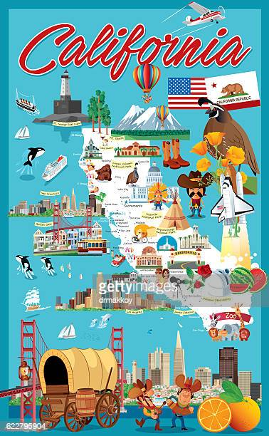 Cartoon map of California