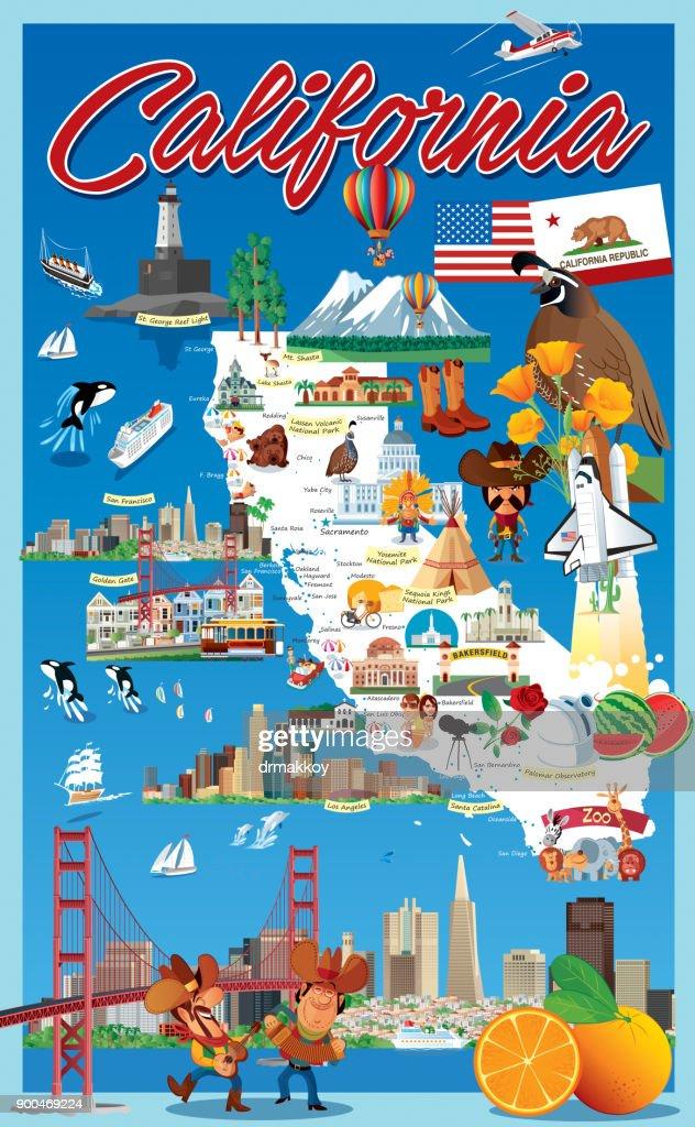 California Map Cartoon.Cartoon Map Of California Vector Art Getty Images