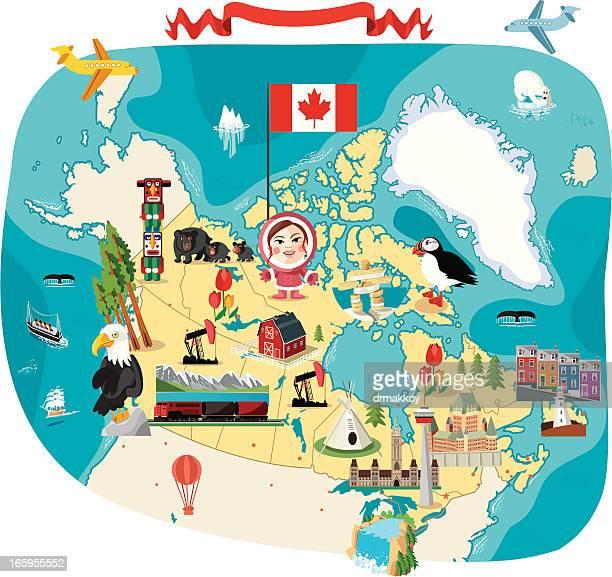 cartoon map of canada - canada stock illustrations