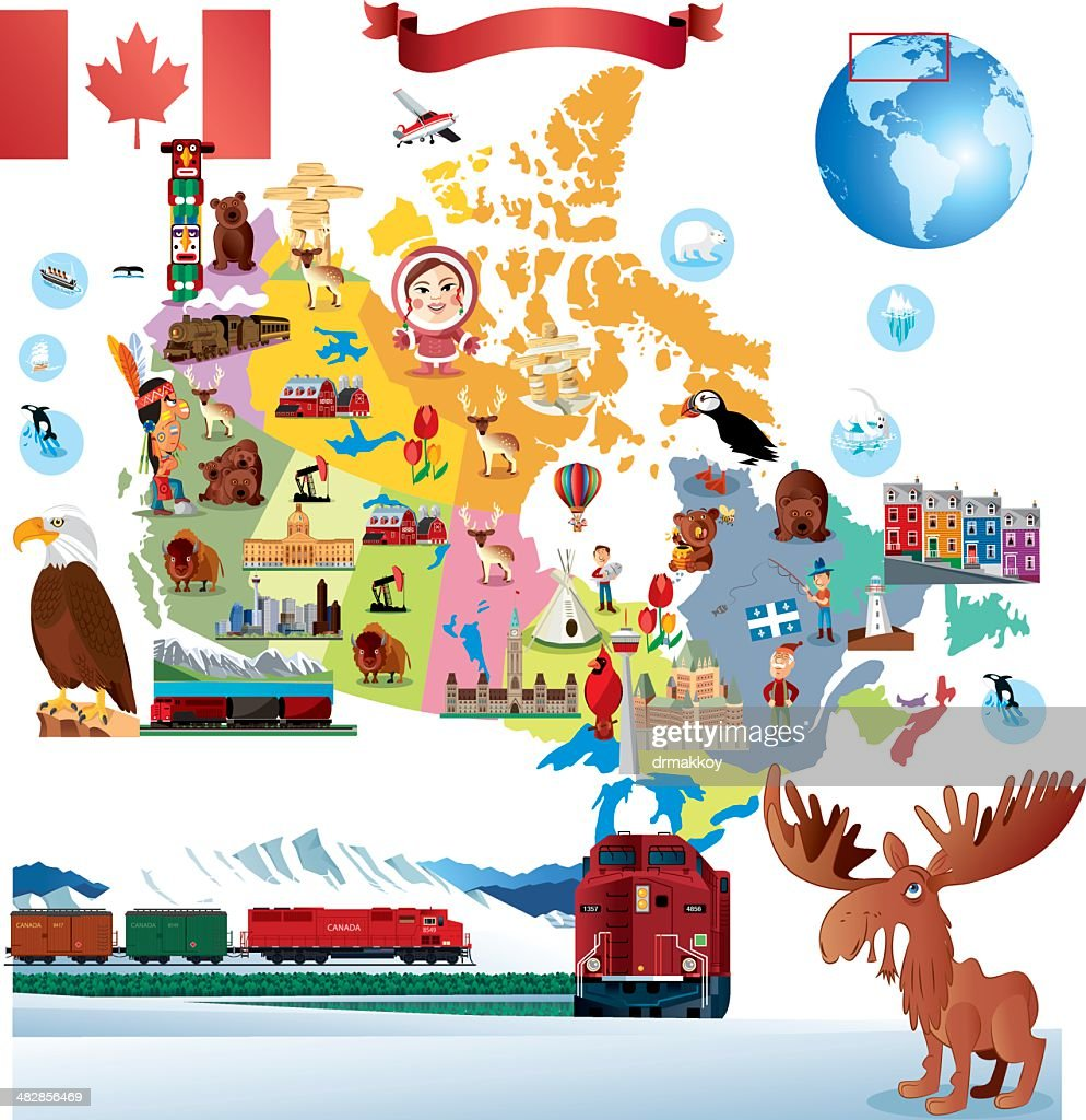 Cartoon-Karte von Kanada : Stock-Illustration