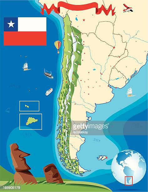 cartoon map of  chile - easter island stock illustrations, clip art, cartoons, & icons