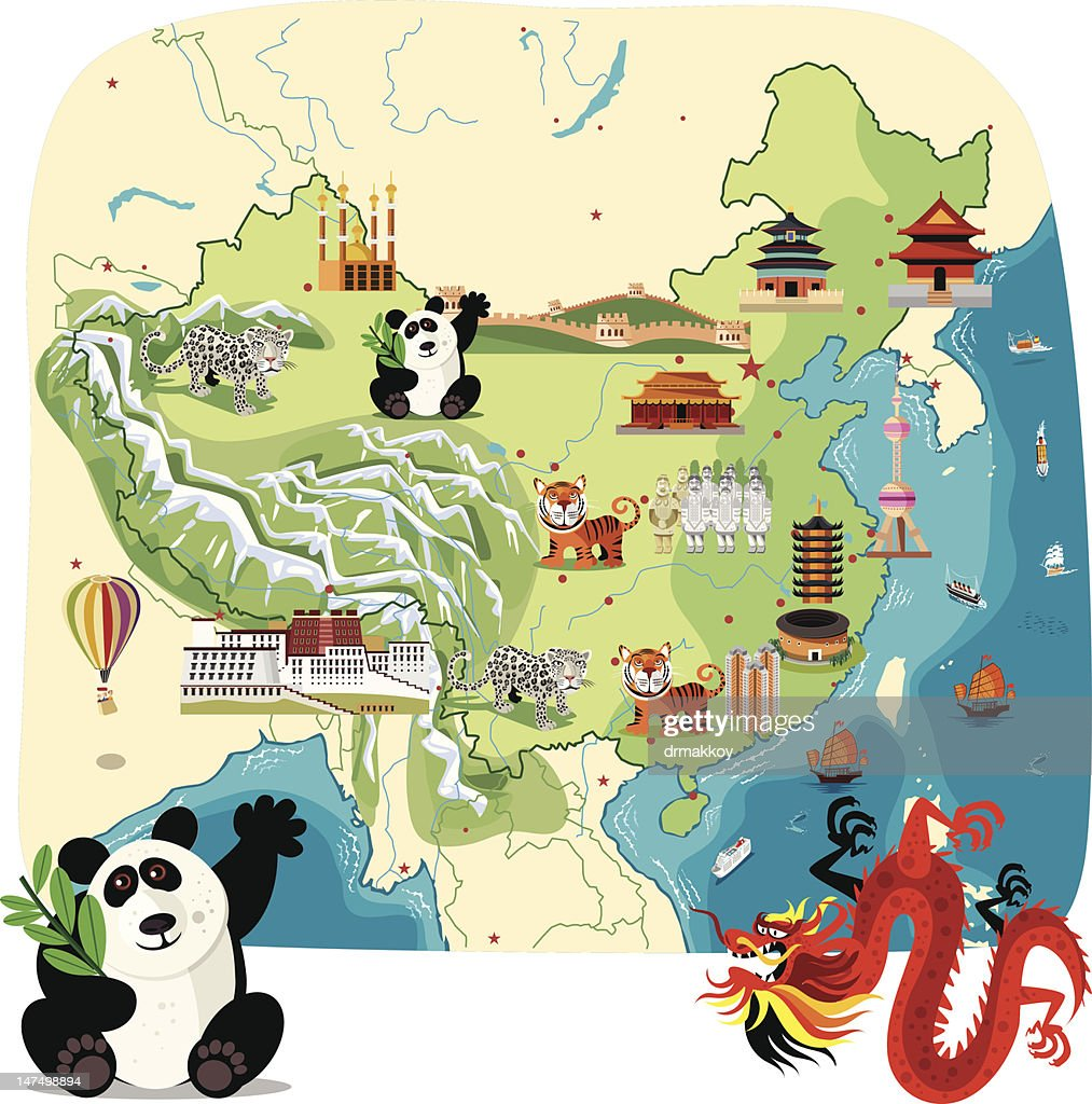 Cartoon Map Of China stock illustration - Getty Images on