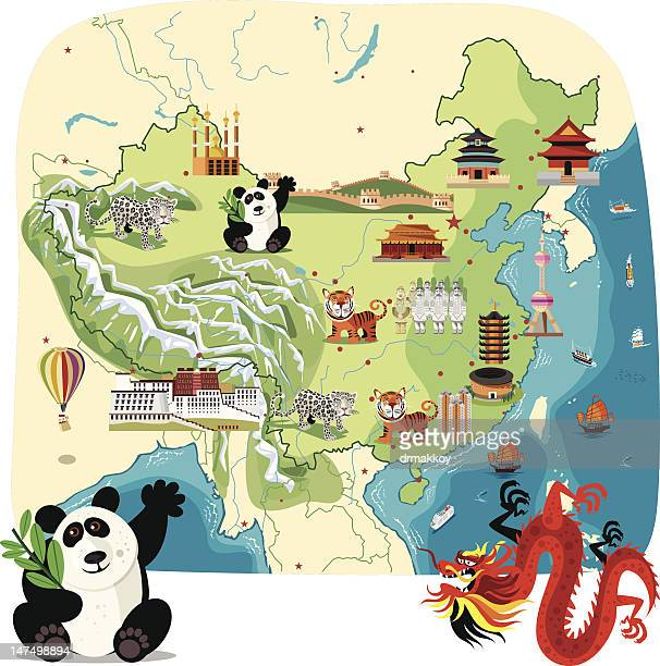 Cartoon map of China
