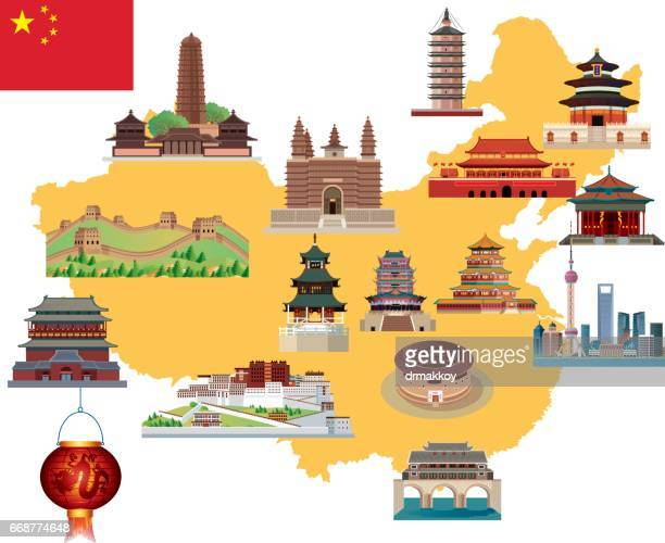 ilustraciones, imágenes clip art, dibujos animados e iconos de stock de dibujo mapa de china - granmurallachina