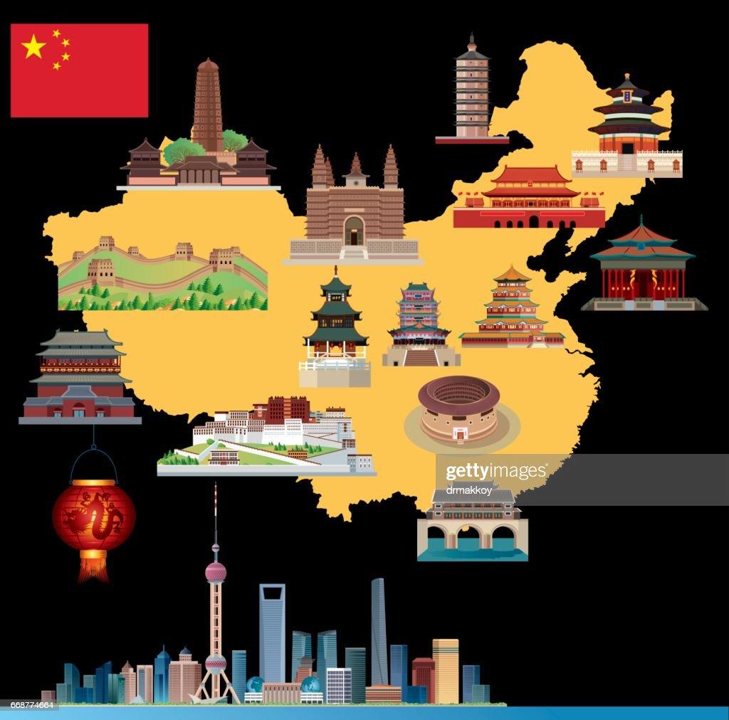 Cartoon map of China