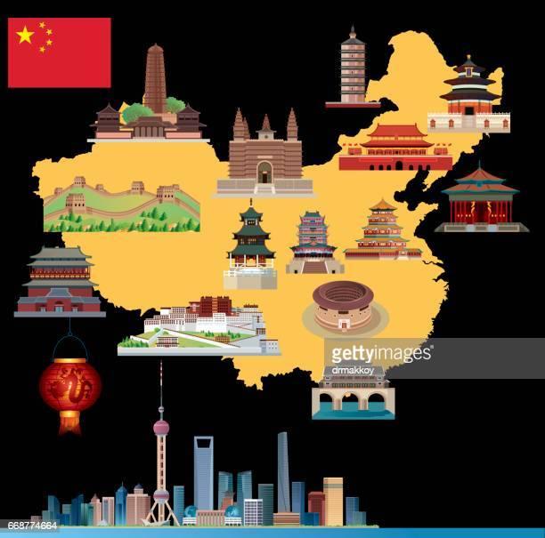 cartoon map of china - wuhan stock illustrations