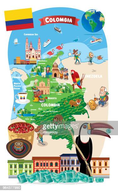 cartoon map of colombia - sombrero stock illustrations