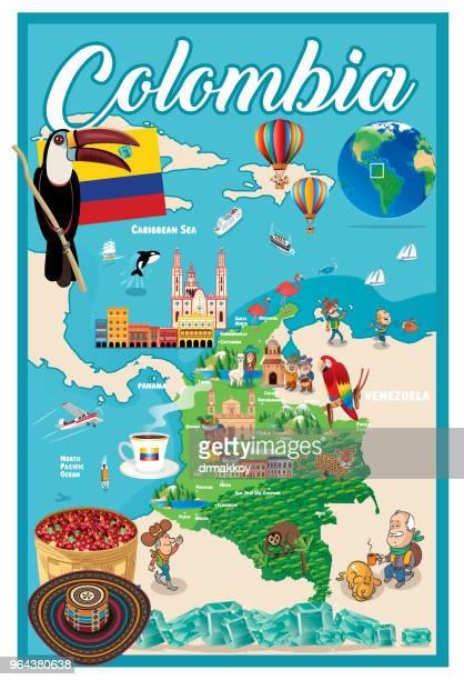 stockillustraties, clipart, cartoons en iconen met cartoon kaart van colombia - colombia
