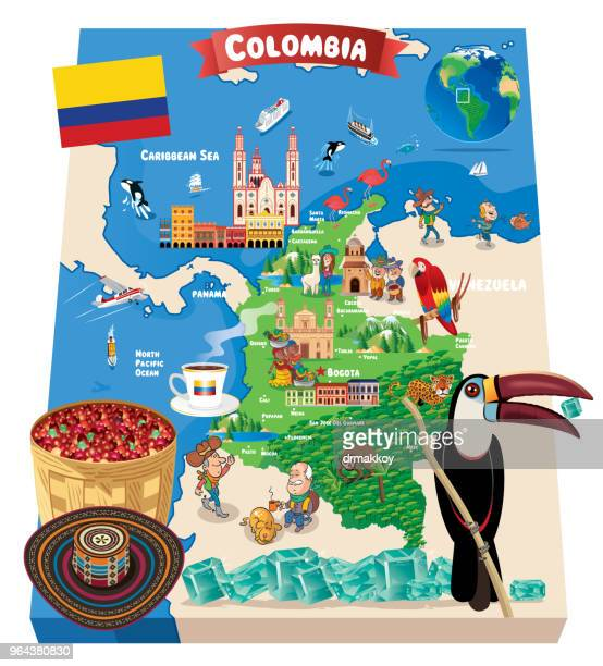 cartoon map of colombia - colombia stock illustrations