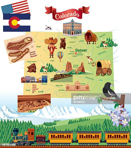 cartoon map of colorado - colorido stock illustrations