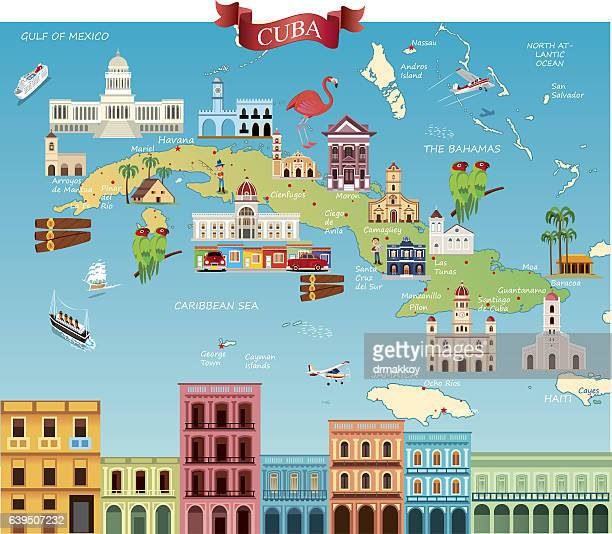cartoon map of cuba - cuban culture stock illustrations, clip art, cartoons, & icons