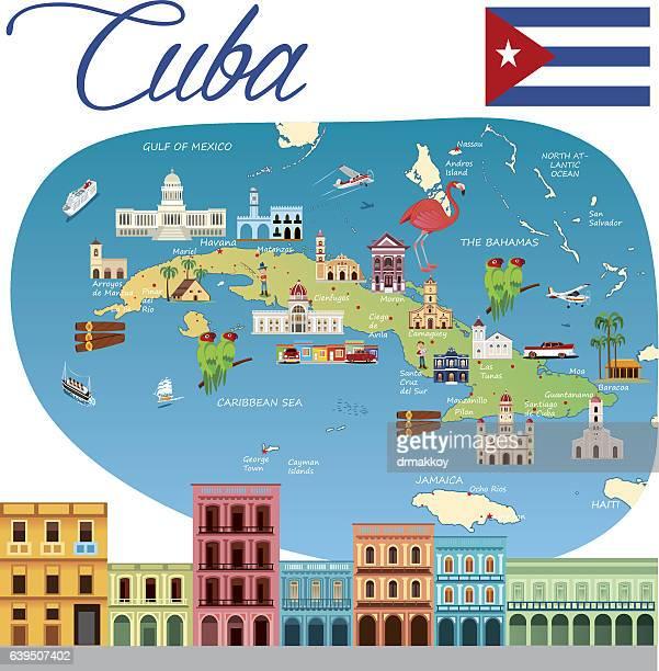 Cartoon map of Cuba